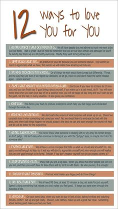 Friday Handout: ways to love yourself from rectherapyideas.blogspot.com