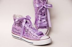 e6e06dff7fdaf4 Tiny Sequin - Starlight Lilac Purple Over White Converse Hi Top Canvas  Sneaker Shoes with Satin