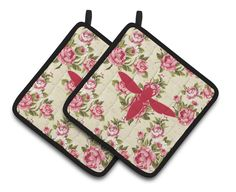 Yellow Jacket Shabby Chic Yellow Roses Pair of Pot Holders BB1053-RS-YW-PTHD