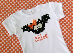 Personalized Halloween  Bat Shirt  for girls and boys... long or short sleeve on Etsy, $18.00
