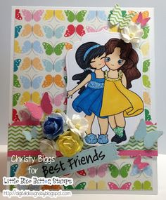 Little Blue Button Stamps blog: Forever Friends freebie stamp and a card