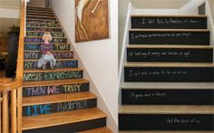 chalk board stairs... For a family that longs to be like Christ... Bible verses that reflect the week.