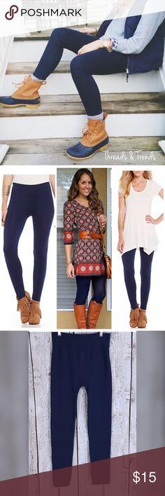 "Slimsation Fleece Lined Navy Leggings Navy fleeced lined slimming leggings. Color navy blue 2"" waist band. Made of poly/spandex blend. Size OSFM Threads & Trends Pants Leggings"