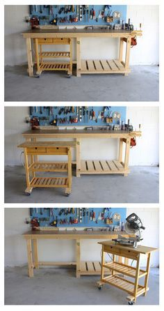 DIY workbench and Ikea hack. Here we have a garage workbench designed and built to fit around an existing Ikea island that was no longer needed in the kitchen. The workbench is built entirely out of pine boards and plywood, to… Kitchen Island Storage, Modern Kitchen Island, Ikea Kitchen, Kitchen Islands, Kitchen Cart, Kitchen Benches, Mobile Workbench, Workbench Plans, Garage Workbench