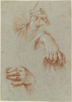 Etude deux mains tenant une étoffe, et d'une main tenant une plume © RMN (Musée du Louvre) / Adrien Didierjean Département des Arts graphiques