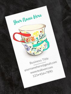 Business and Calling Card Tea Cups Vertical - Set of 40 by OlivineStationery on Etsy