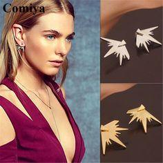 Comiya moda geométrica stud pendientes de aleación de zinc de doble cara para la señora joyeria boucle d'oreille pendiente al por mayor pendiente del poste