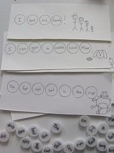 Bottle top sentences - use sight words and other common words and have students make a sentence and illustrate. Fun center idea.