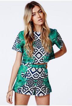 Sarah Bohemian Print Palm Detail Shorts - Shorts -