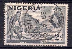 Tin | 2d stamp | stamped Onitsha 1957 | Nigeria