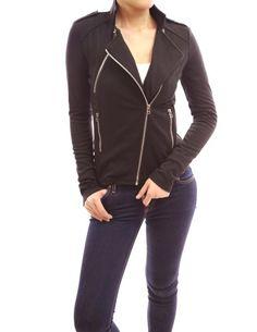 10ff3787d11 Patty Women Black Motorcycle Biker Zip Front Jacket (Black XL) Patty