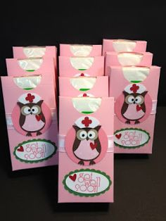 """get well gift using: owl punch, two oval punches, a 2"""" circle punch and the tiny flower punch for the cross. The nurses cap is the front pink part of the owl tu..."""