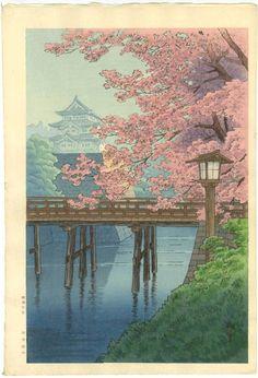 Ito Yuhan Japanese Woodblock Print Castle Blossoms 1930s | eBay