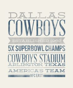 DALLAS COWBOYS - 8x10- Rustic - Vintage Style - Typographic Art Print - Subway Style - Football. $12.00, via Etsy.