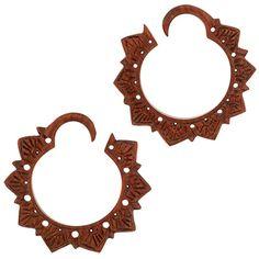 Tawapa: Pair of Bloodwood Lotus Hoops - V272W - Body Jewelry