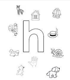 Welk plaatje/woord begint met de letter h?