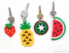 DIY hama perler beads fruit keyring pineapple watermelon kiwi strawberry kawaii gift craft- My kids love making these bead crafts. Perler Beads, Perler Bead Art, Fuse Beads, Perler Bead Designs, Craft Day, Craft Gifts, Diy Gifts, Handmade Gifts, Hama Beads Patterns