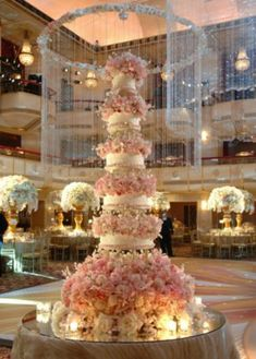 Pink Wedding Cakes - Huge weddings call for huge wedding cakes. Even if you're only planning to have an average-sized wedding cake, it's still super fun to check out some of the massive cakes ordered by other brides. Huge Wedding Cakes, Beautiful Wedding Cakes, Gorgeous Cakes, Perfect Wedding, Dream Wedding, Wedding Day, Cake Wedding, Floral Wedding, Wedding Reception