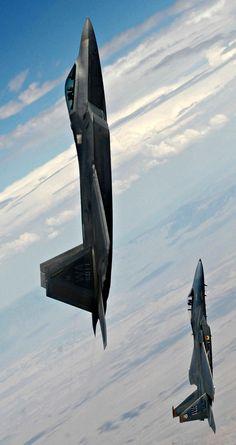vbeserk:  aeroraptorblog:via Flightglobal  Very nice shot!  F-22A Raptor with a F-15C Eagle