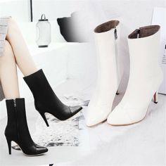 Gr.28-52 Elegant Spitz Damen Stiefeletten Hoherabsatz Winter High-Top Boots