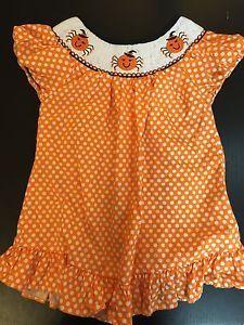 Girls 2T Smocked Halloween Polka Dot Spider Embroidery Tunic Dress Emily Rose | eBay