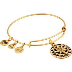 Alex and Ani Compass Charm Bangle (Rafaelian Gold Finish) Bracelet ($22) ❤ liked on Polyvore featuring jewelry, bracelets, gold, charm bangle, alex and ani, bangle bracelet, twist jewelry and bangle jewelry