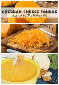 Easy Cheddar Cheese Fondue Recipe inspired by The Melting Pot. Dip bread, veggies or meat. Great for a special dinner or snack.