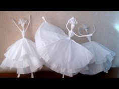 How do you make a ballerina out of a napkin and wire Paper Mache Sculpture, Newspaper Crafts, Wire Crafts, Fairy Dolls, Diy Arts And Crafts, Doll Crafts, Wire Art, Paper Dolls, Paper Art