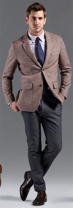 Wool jacket, wool trousers, cotton shirt, & silk tie