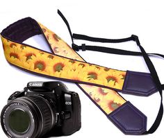 Sunflowers Camera strap. Roses camera strap. DSLR by InTePro
