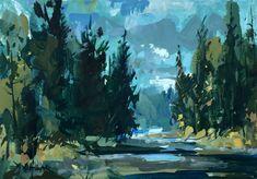 Jared Shear, art, plein air, painting, landscape, river, stream, gouache, fall,
