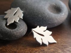 Little leaf post earrings - handcrafted sterling silver woodland earrings
