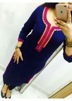 Office Wear Navy Blue Georgette Kurti - 108044
