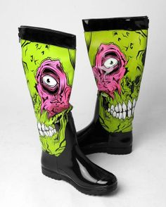 #Iron Fist Zombie Stomper Rain Boot - Green