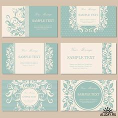 Illustration of Set of six floral vintage business cards, invitations or announcements vector art, clipart and stock vectors. Business Card Stock, Vintage Business Cards, Letterpress Business Cards, Business Card Design, Creative Business, Retro Background, Textured Background, Sea Logo, Floral Vintage