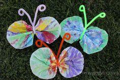 Free Preschool Spring Crafts | Cute watercolor coffee filter butterflies !