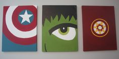 Marvel Superhero paintings for bedroom or nursery. Captain America, Incredible Hulk, and Iron Man - Visit to grab an amazing super hero shirt now on sale! Marvel Nursery, Marvel Bedroom, Big Boy Bedrooms, Kids Bedroom, Bedroom Ideas, Bedroom Decor, Avengers Room, Superhero Room, Incredible Hulk
