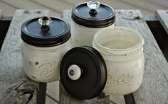 Little House of Four: {Craft Fair} Painted Mason Jars and Weathered Wood Boxes