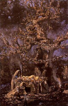 El árbol sagrado. Museo de Bellas Artes. Málaga. Obra de Antonio Muñoz Degrain