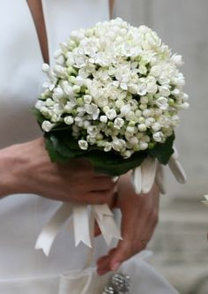 Elegant Wedding Bouquet all made of white Bouvardia flowers.  Very refined and quite uncommon, with a combination of white and green colours, and the alternation of closed buds and opened flowers.