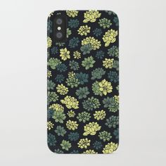 Beautiful pattern with succulents (water lilies) of green and yellow color.
