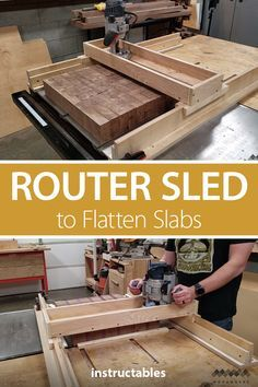 Make a router sled/slab flattening mill. It's a great way to flatten work pieces that are too large to fit in a standard planer, drum& The post How to Make a Router Sled to Flatten Slabs appeared first on Cassidy Woodworking. Router Sled, Router Jig, Router Woodworking, Woodworking Workshop, Woodworking Techniques, Woodworking Projects Diy, Woodworking Furniture, Diy Wood Projects, Woodworking Tools