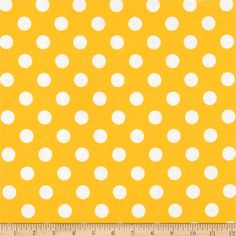 Riley Blake Laminate Medium Dots Yellow/White from @fabricdotcom  Designed by RBD Designers for Riley Blake, this laminated cotton print fabric meets the key provisions of the CPSIA (Comprehensive Consumer Product Safety Improvement Act of 2008). This fabric does not contain any lead or thyolate. Soft, protective film is laminated to the face of the fabric, its softness makes this cloth extremely pliable for fashion, and the durability combined with easy-care convenience (cleans up easily…