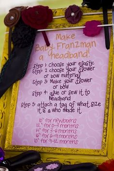 Baby shower activity that isn't embarrassing: Arts & Crafts for girl baby shower- Make a baby headband