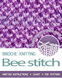 Bee Brioche is one of our very favorite stitches. This pattern uses the knit one below stitch to create an interesting textured fabric. Slip Stitch Knitting, Knitting Squares, Knitting Help, Knitting Stiches, Baby Knitting Patterns, Stitch Patterns, Knit Stitches, Tweed, Knitting Projects