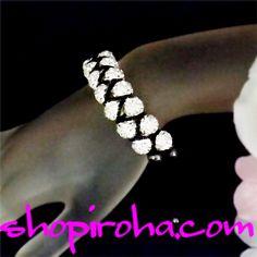 シャンバラブレス・2連・ブラック&ホワイト・クレイ・シャンバラ・ブレスレット