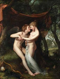 Hugh Douglas Hamilton, 1740-1808  Cupid and Psyche in the Nuptial Bower, 1792-1793, Hugh Douglas Hamilton #art #amoreepsiche #enicultura