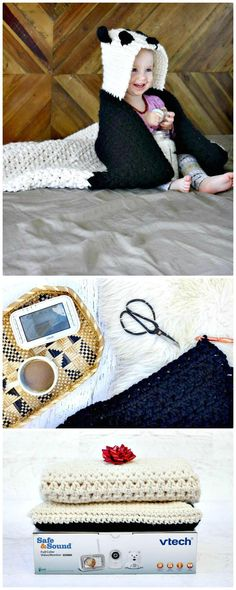 Crochet Panda Hooded Baby Afghan – Free Pattern - Crochet Afghan Patterns - 41 Free Patterns for Beginners - DIY & Crafts