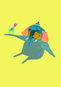 Elephant and Cat. Kids Wall art, Children Decor, Children's Wall Art. via Etsy