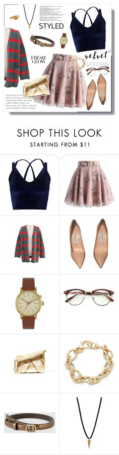 """Crushing It: Summer to Fall Velvet"" by kaitlyngertrude ❤ liked on Polyvore featuring Miss Selfridge, Chicwish, Balmain, Jimmy Choo, Void, TIARA, Gucci, Dogeared, Chrome Hearts and Summer"